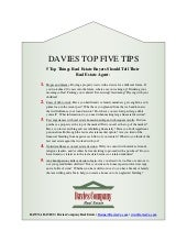 Davies Top 5 Tips: What Buyers Should Tell Their Real Estate Broker
