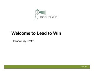 Lead To Win Bootcamp - Day 1