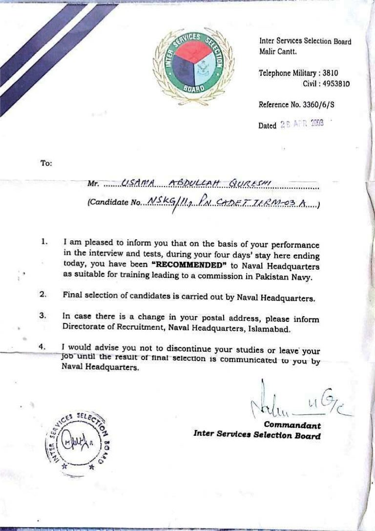 Issb Pak Navy Letter Of Recommendation