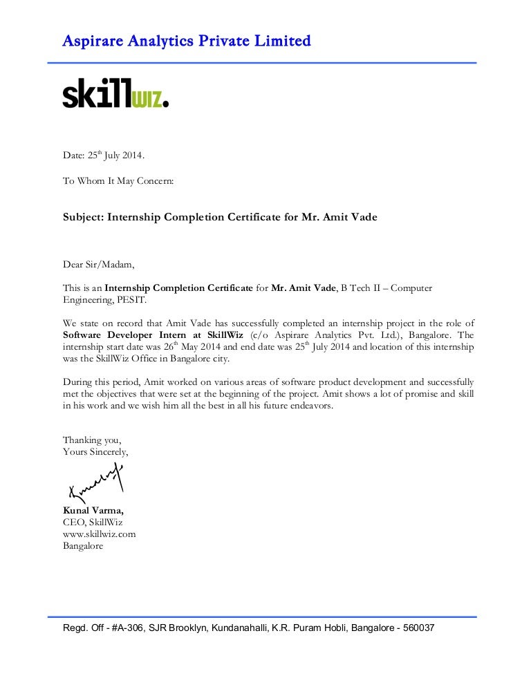 Internship completion certificate format roho4senses internship completion certificate format altavistaventures Images