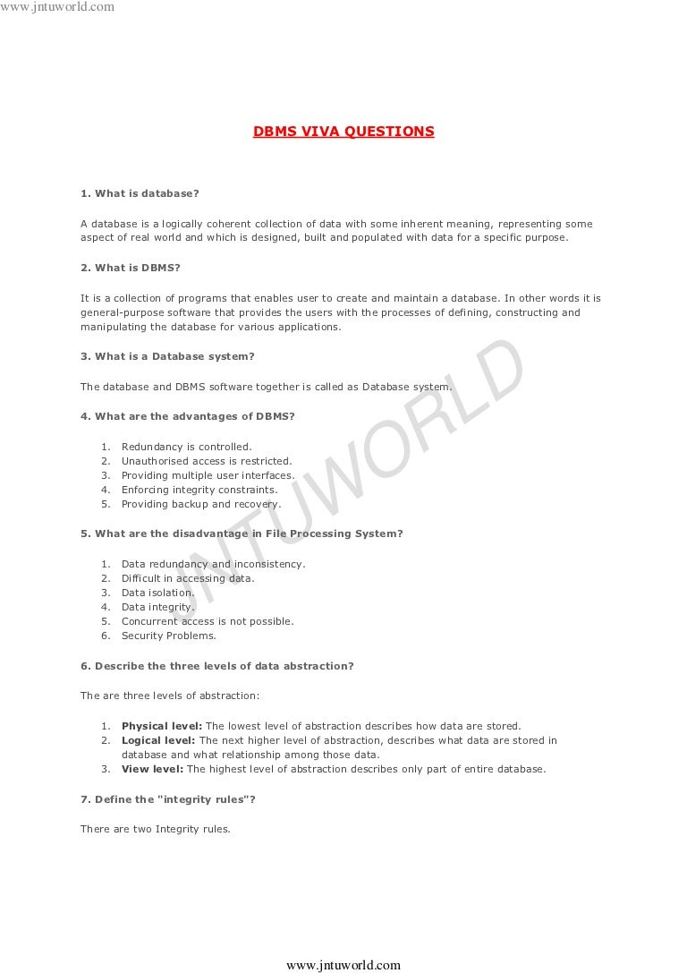 Dbms Lab Viva Questions And Answers Pdf