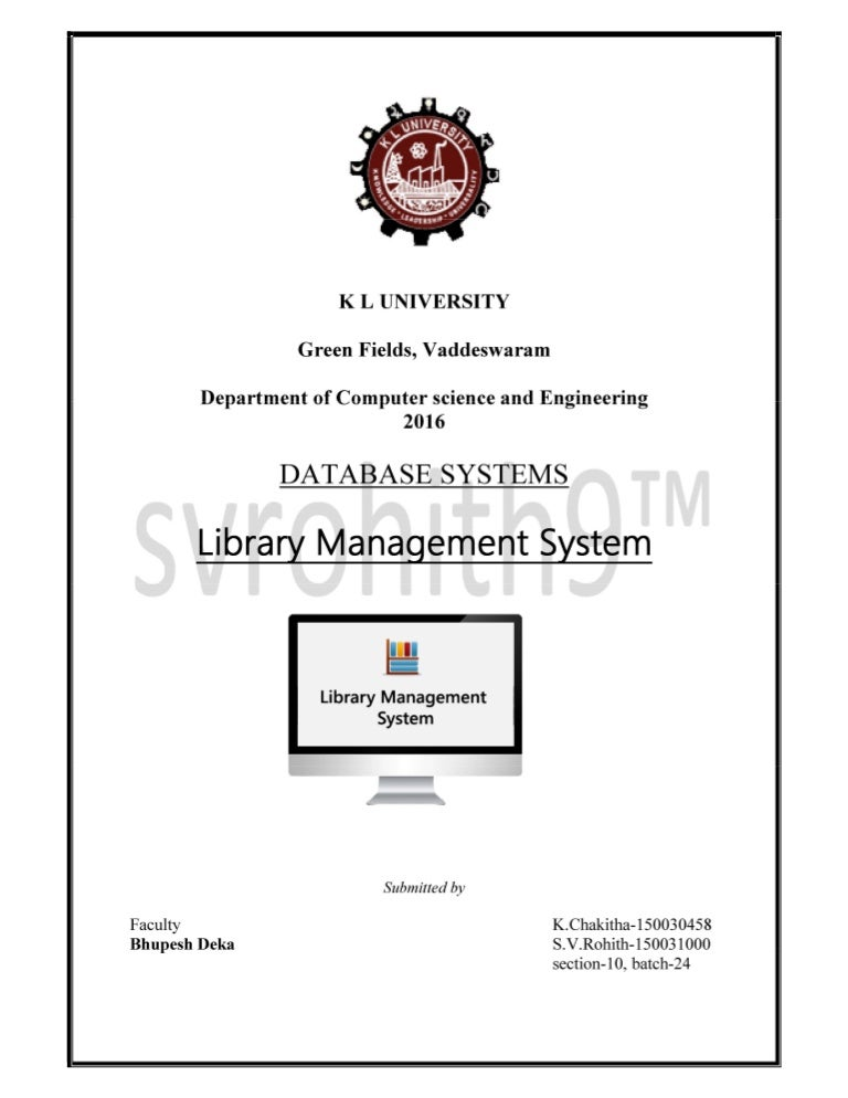 A mini project on designing a DATABASE for Library management system …