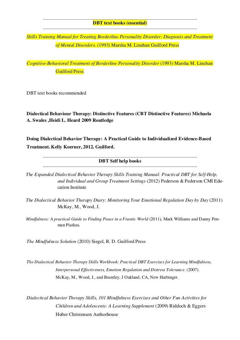 Workbooks dialectical behavior therapy skills workbook : Dbt books1