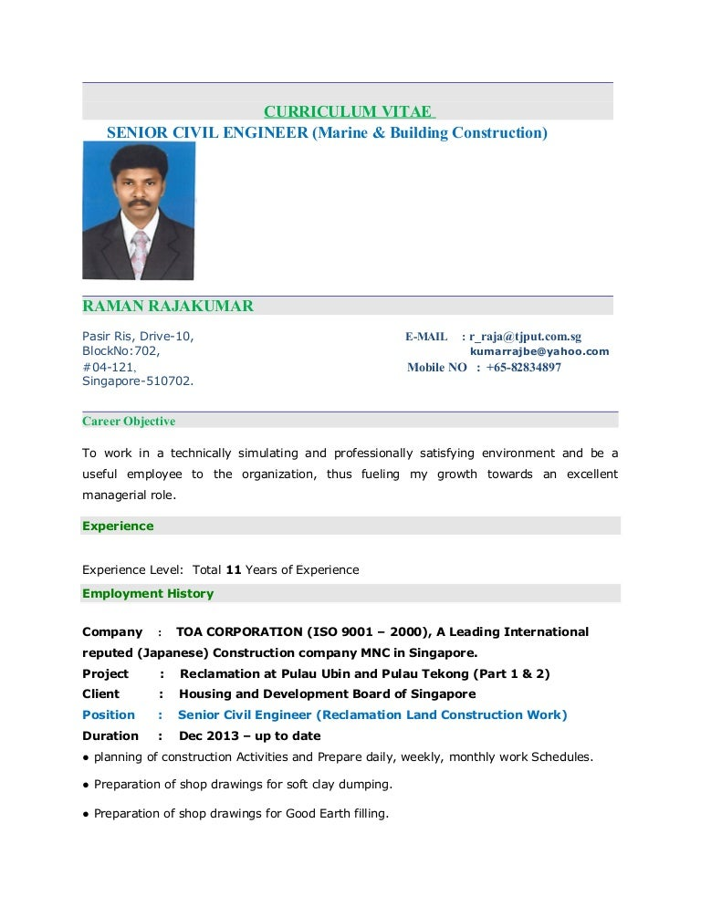 raja kumar resume senior civil engineer - Coastal Engineer Sample Resume
