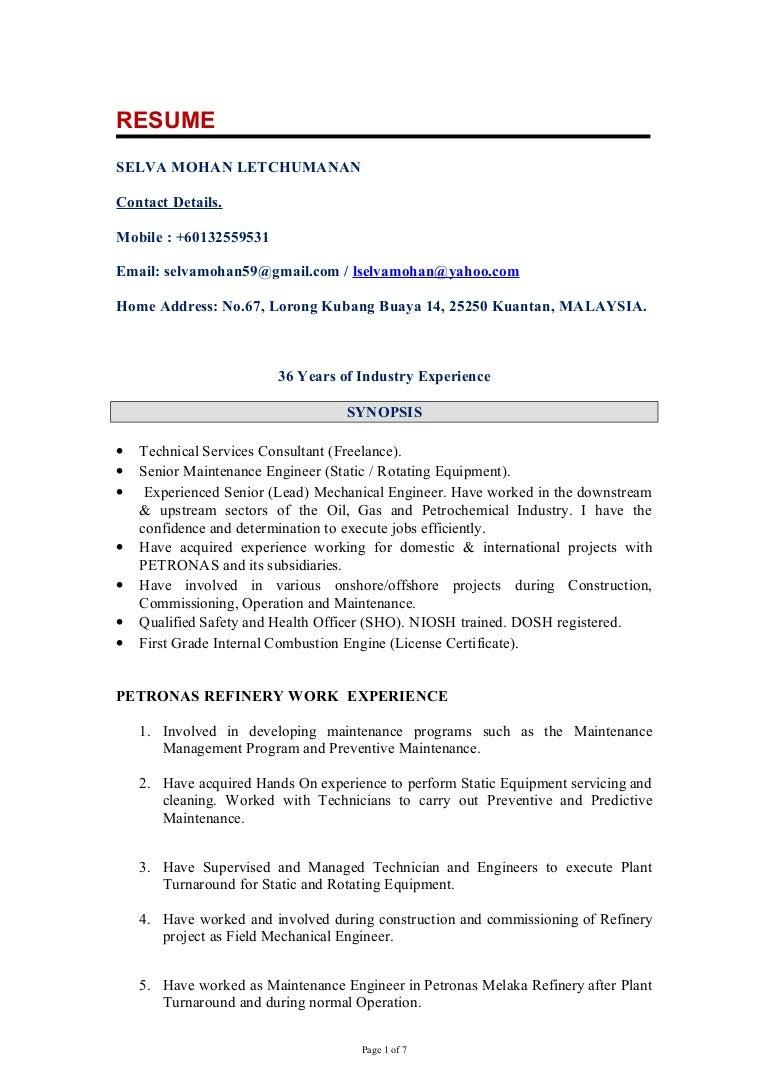 sample resume for mechanical engineer fresher autocad mechanical - Maintenance Engineer Sample Resume