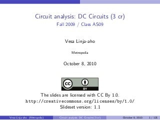 Circuit Analysis - DC Circuits