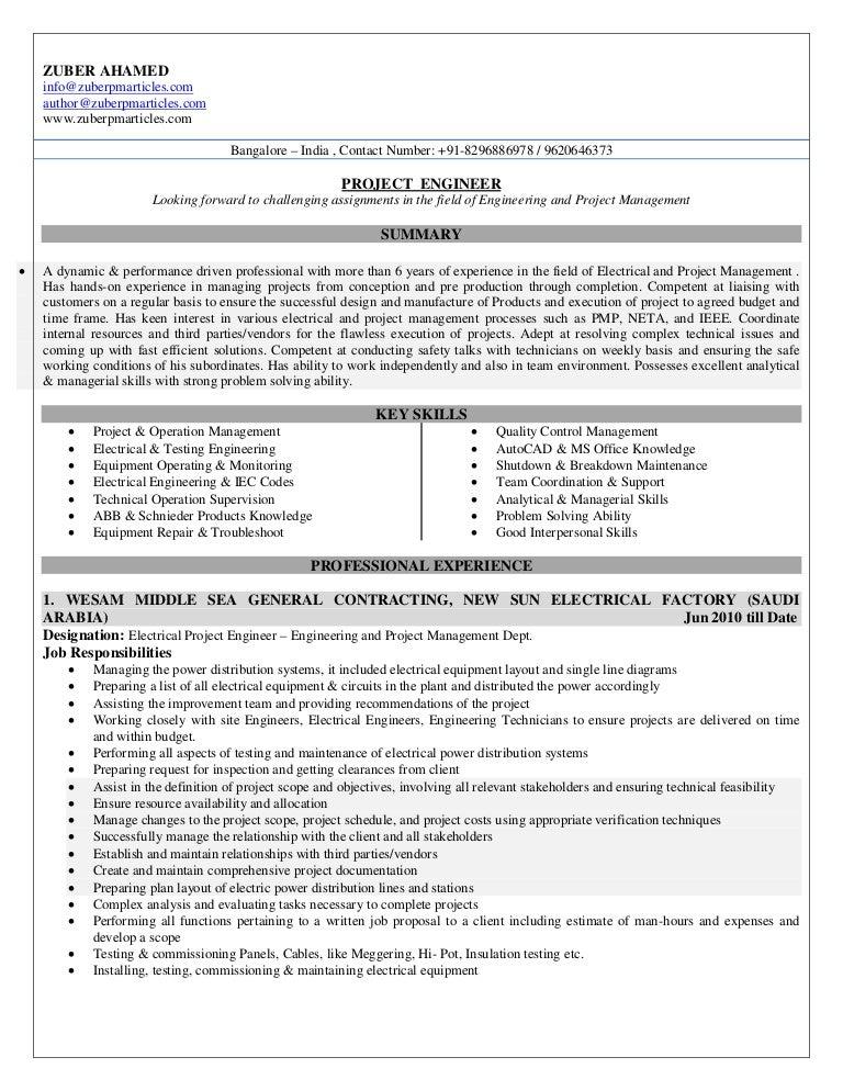 project engineer resume sample