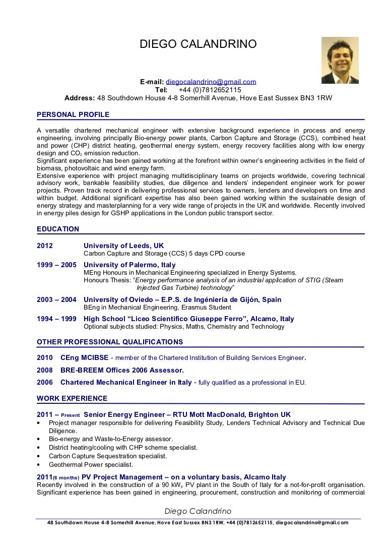 professional cv for engineers