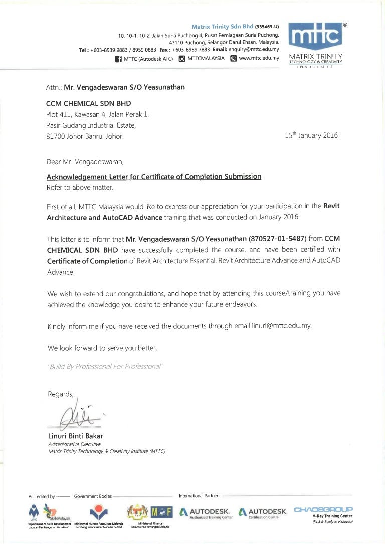 Acknowledgement letter for certificate of completion submission 1betcityfo Image collections