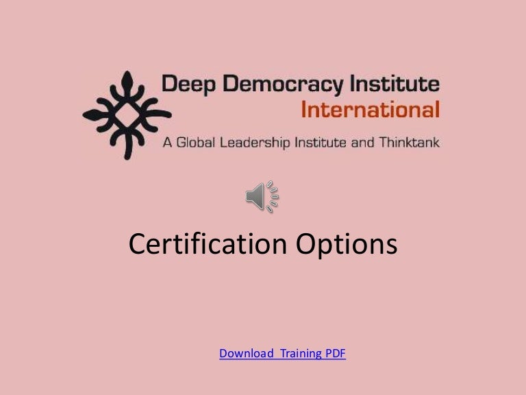 Deep Democracy Institute Certfication Tracks