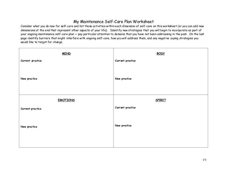 selfcare plan Haymarket – Self Care Plan Worksheet