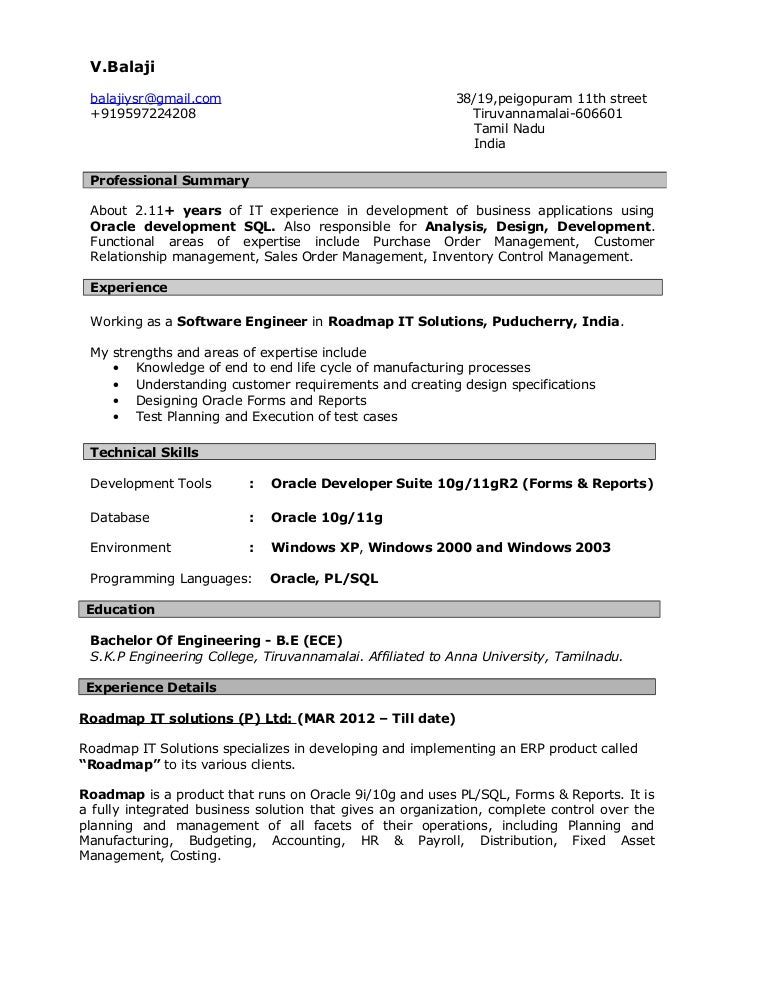 resume for oracle developer