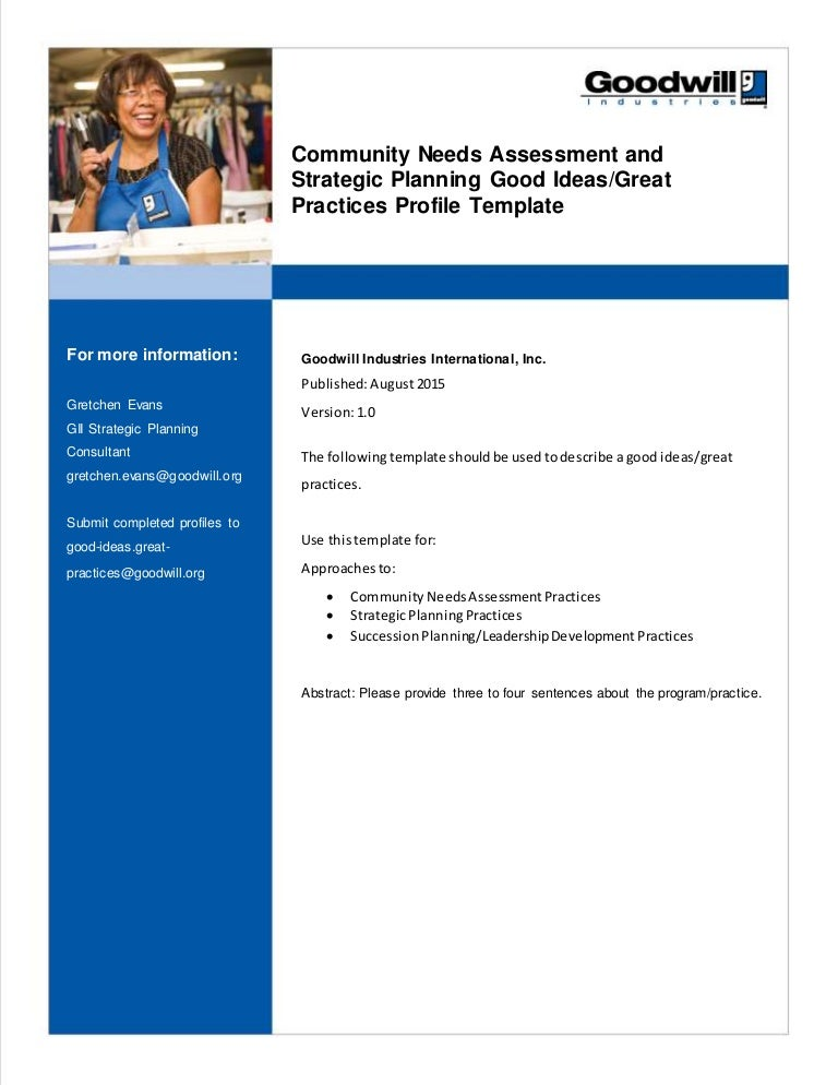 Template For Community Needs Assessment And Strategic Planning