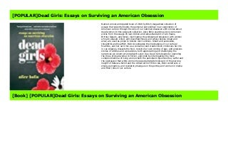 [POPULAR]Dead Girls: Essays on Surviving an American Obsession
