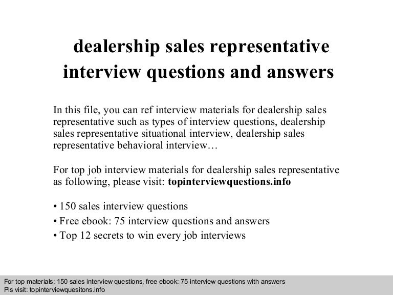 Dealership Sales Representative Interview Questions And Answers