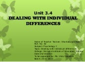 Dealing with individual differences