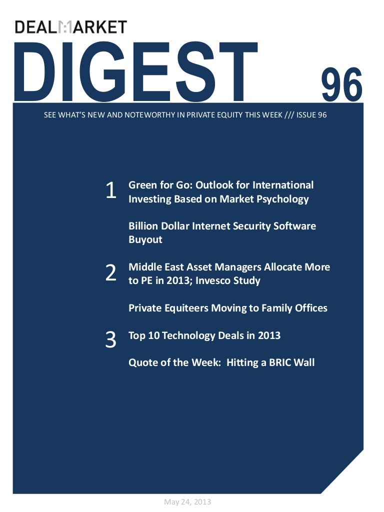 DealMarket Digest Issue 96 - 24th May 2013