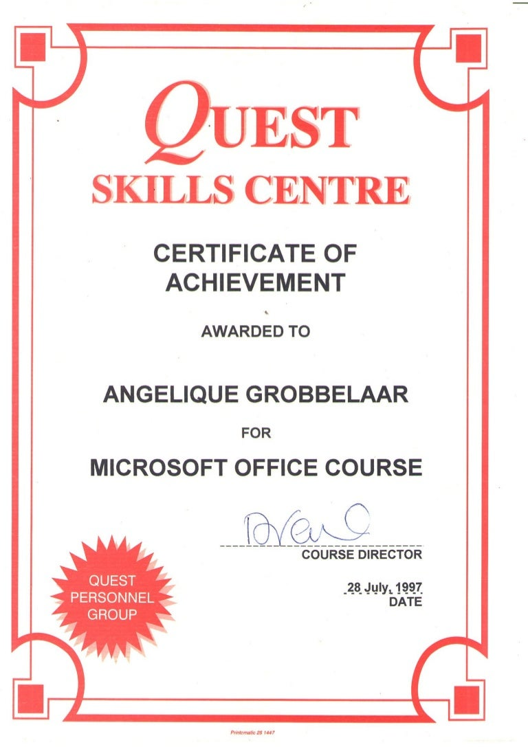 Quest skills centre certificate of achievement microsoft office 1betcityfo Gallery