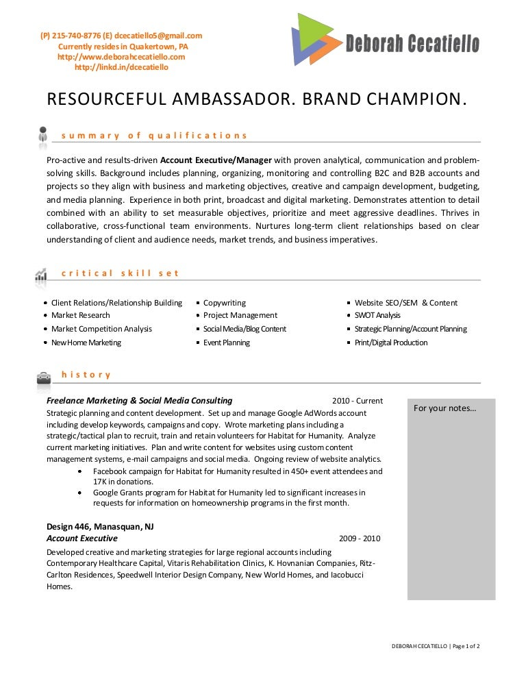 sample advertising manager resume