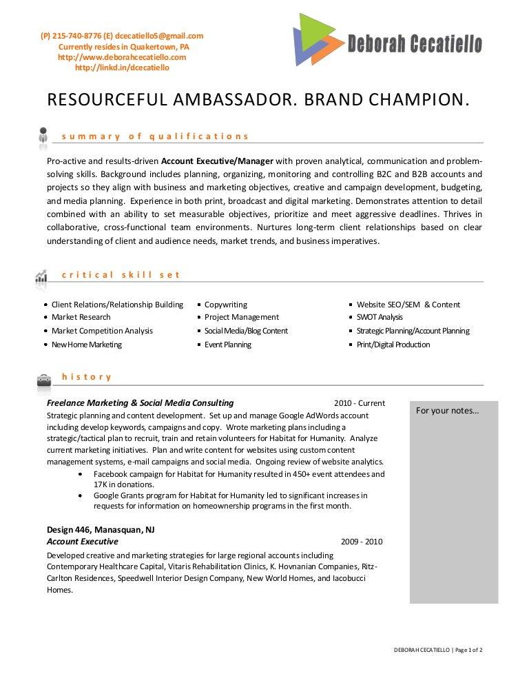 deborah cecatiello resume cover letter for ad agency - Advertising Agency Resume