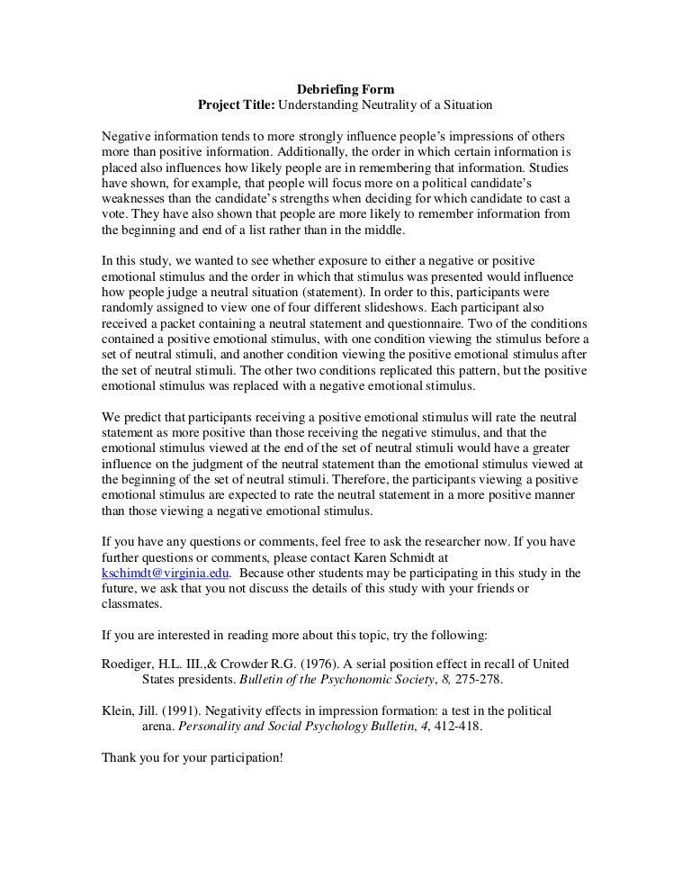 Debriefing Form Psychology Hobitfullring