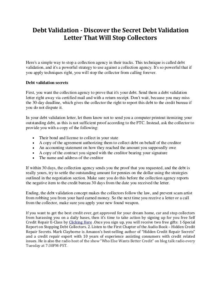 Debt validation discover the secret debt validation letter that wil…