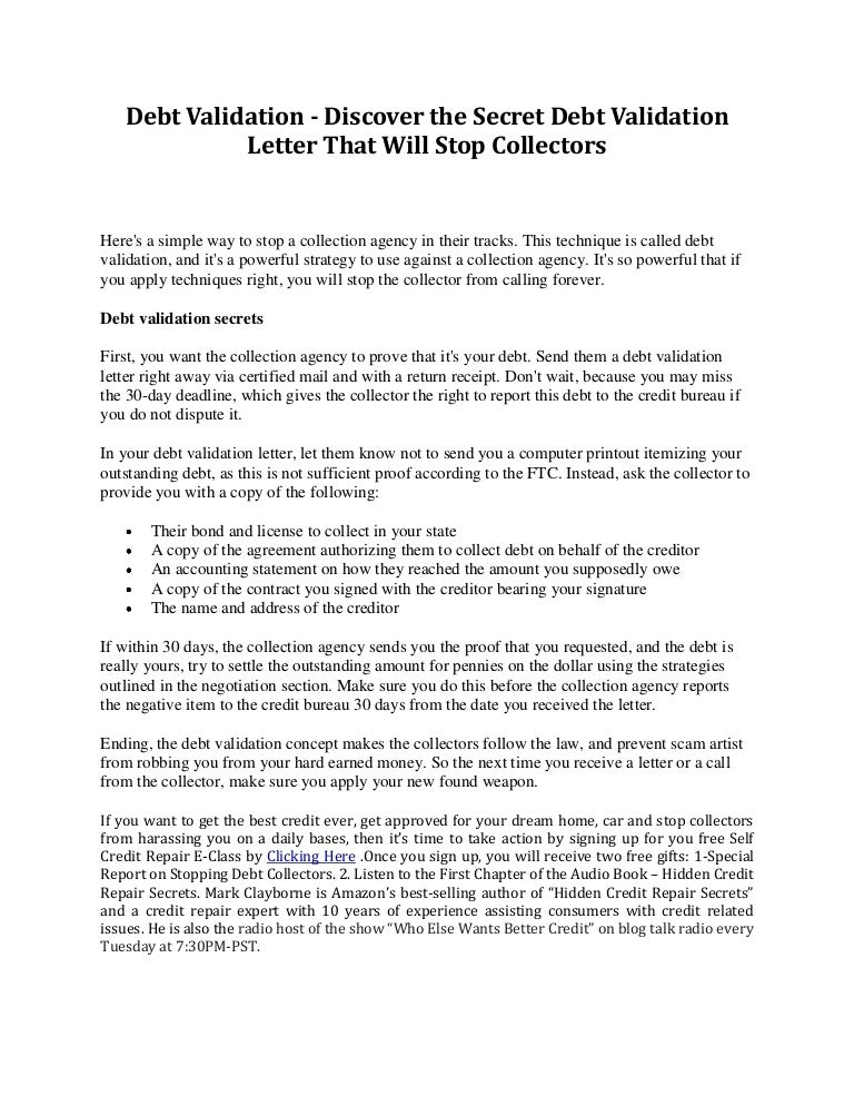 debt validation discover the secret debt validation letter that wil