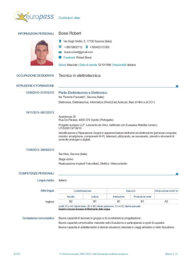Curriculum Vitae Bossi Robert