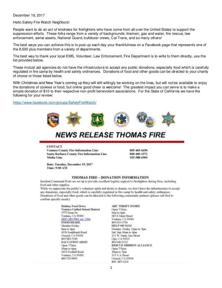 List Of Thomas Fire Resources Departments Thank You Donations