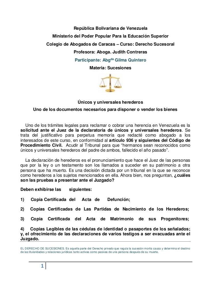Declaración únicos y úniversales de herederos trabajo presentado para…