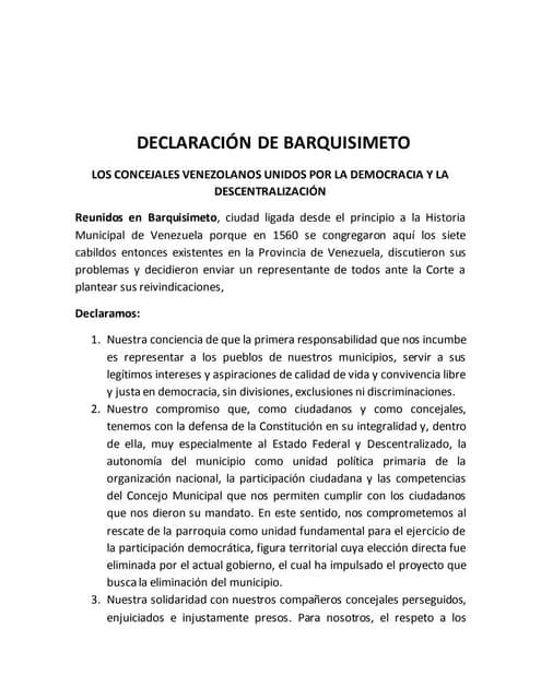Declaracion de Barquisimeto