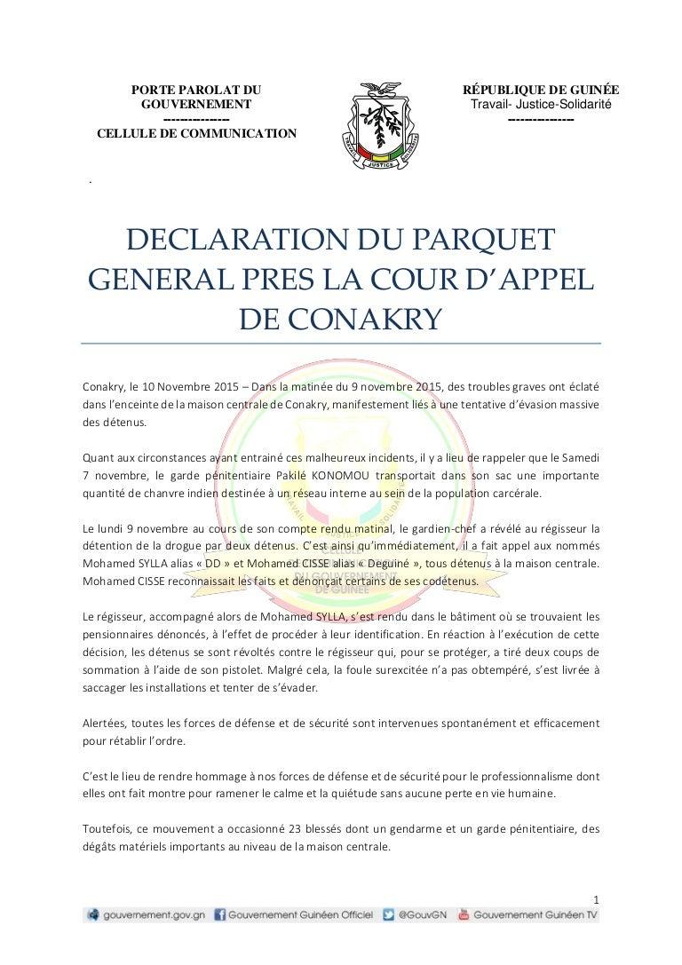 La Maison Du Parquet dossier evasion maison centrale: déclaration du parquet