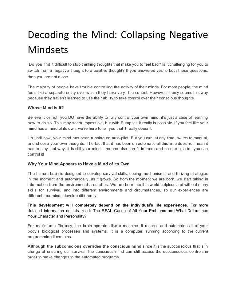 Decoding the mind collapsing negative mindsets