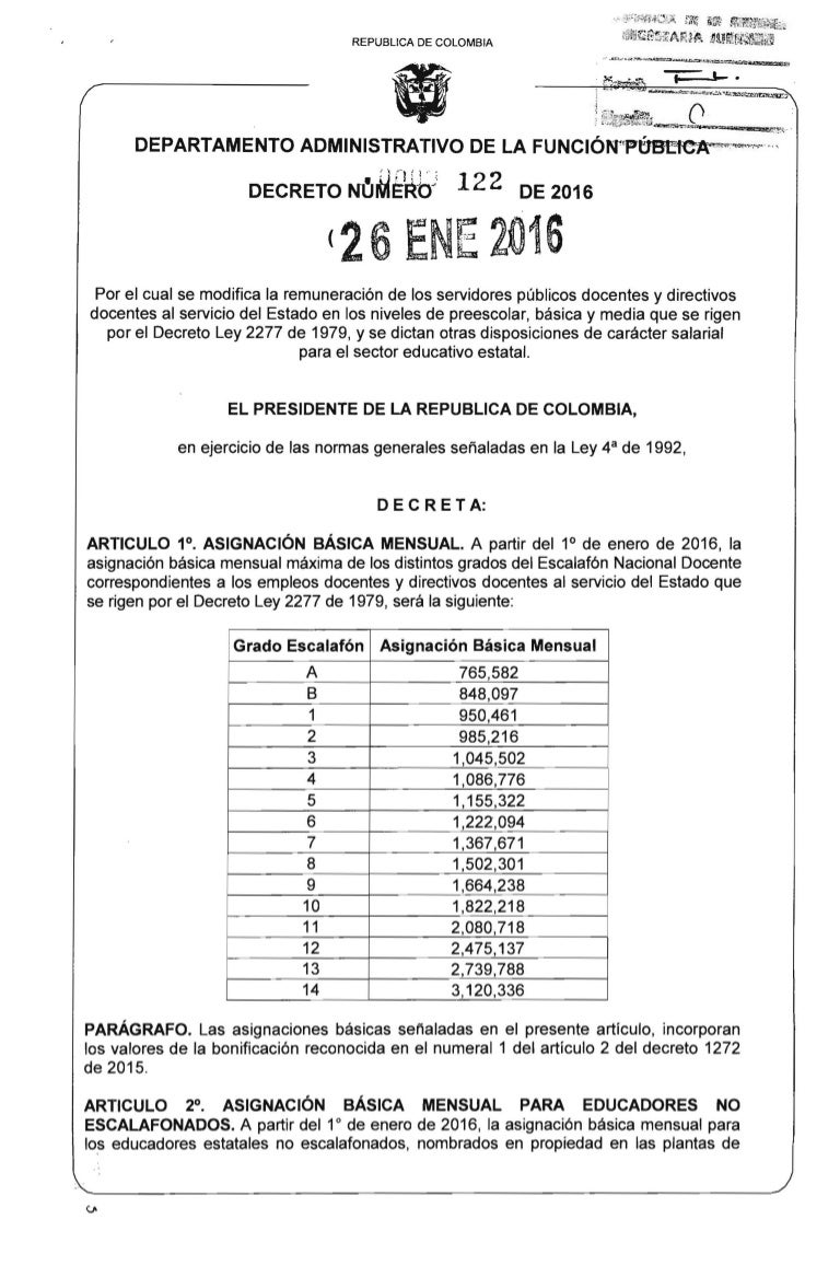 Decreto 122 de 2016 for Plazas de docentes 2016