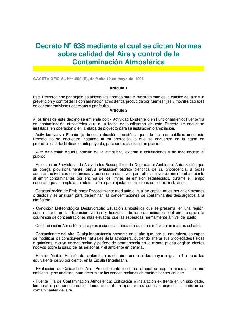 Decreto 638. normas sobre calidad del aire y control de la contaminac…