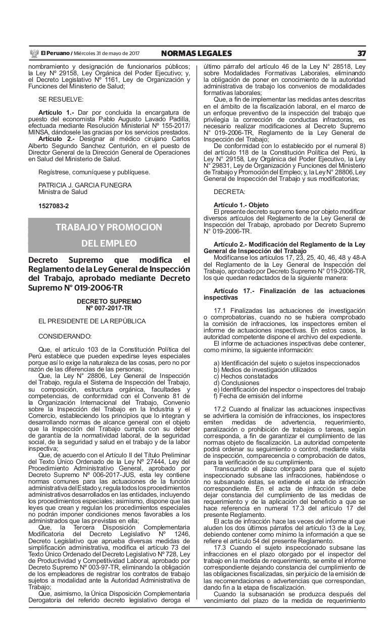 Decreto supremo nº 007 2017-tr - modifica el reglamento de la ley gen…