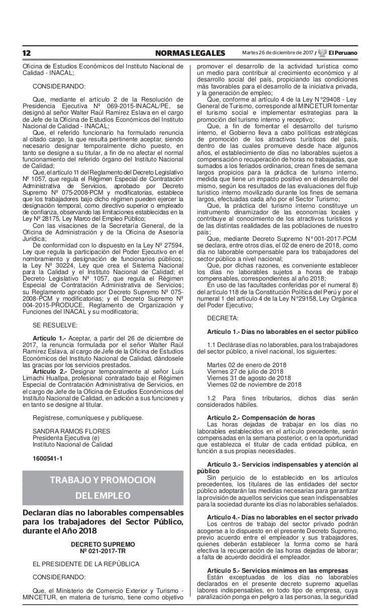 Decreto supremo nº 021 2017-tr - declaran días no laborables compensa…