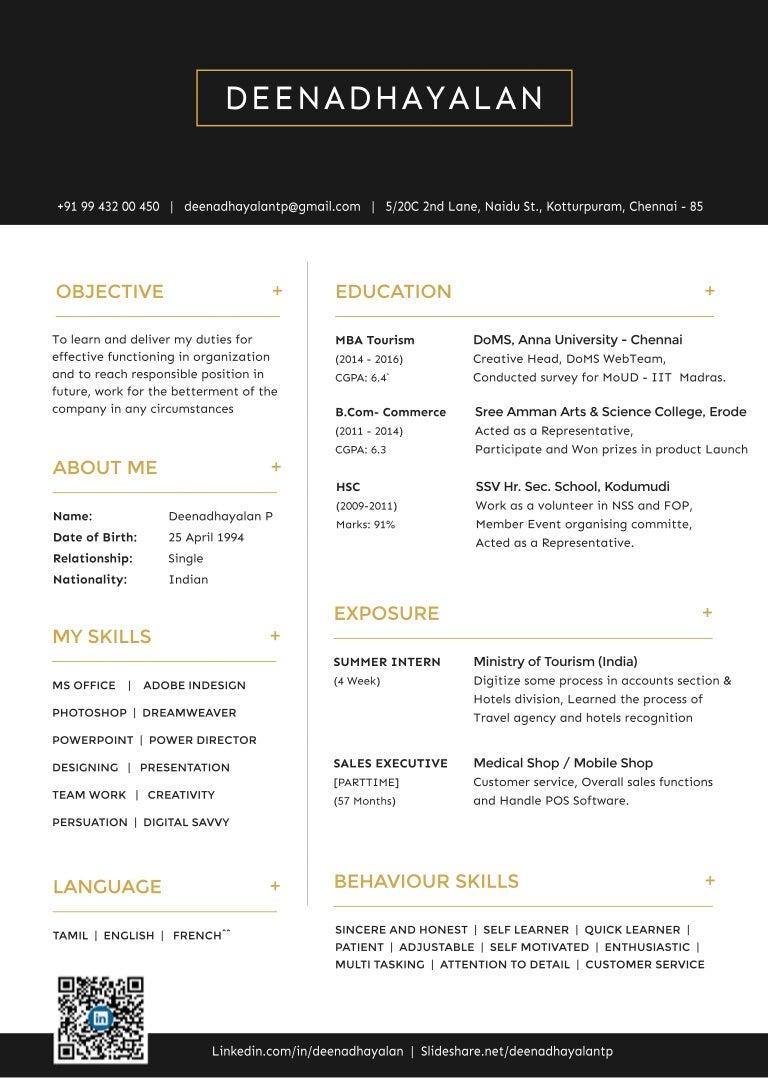 one page resume deenadhayalan mba tourism management student