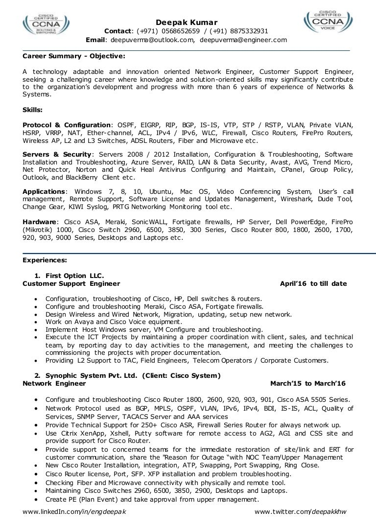 Resume For Network Engineer L2 Admin Team Leader System