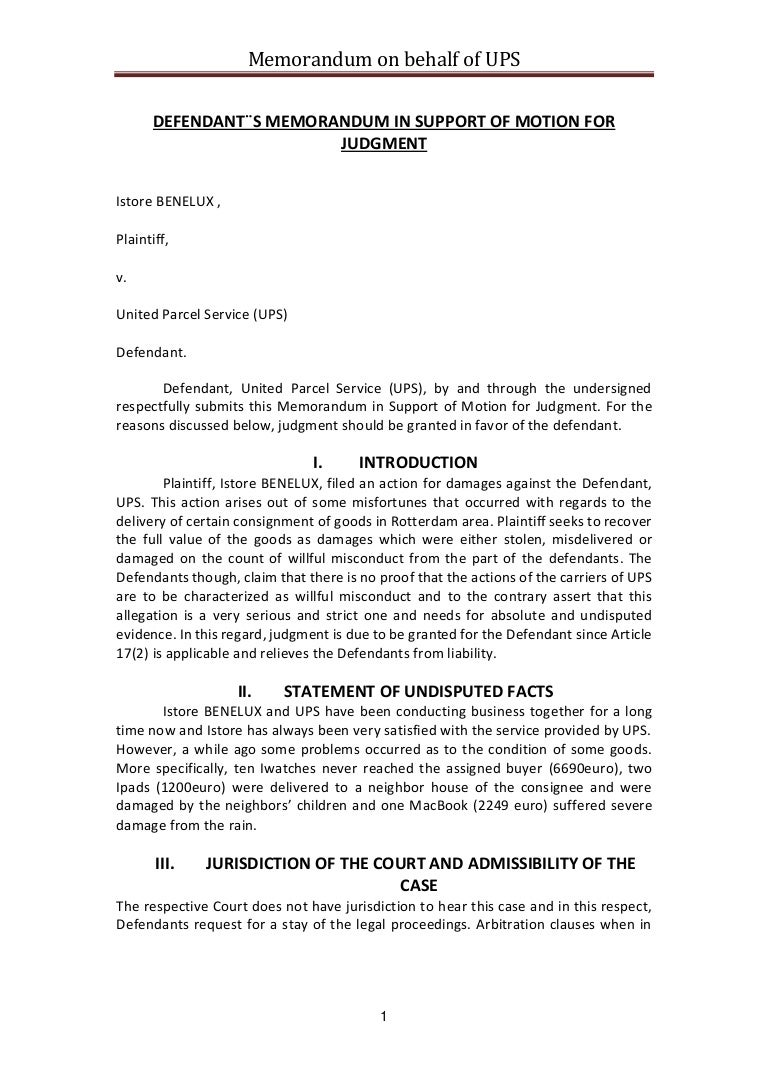 Defendant´s memo in support of motion for judgment (Grade 8