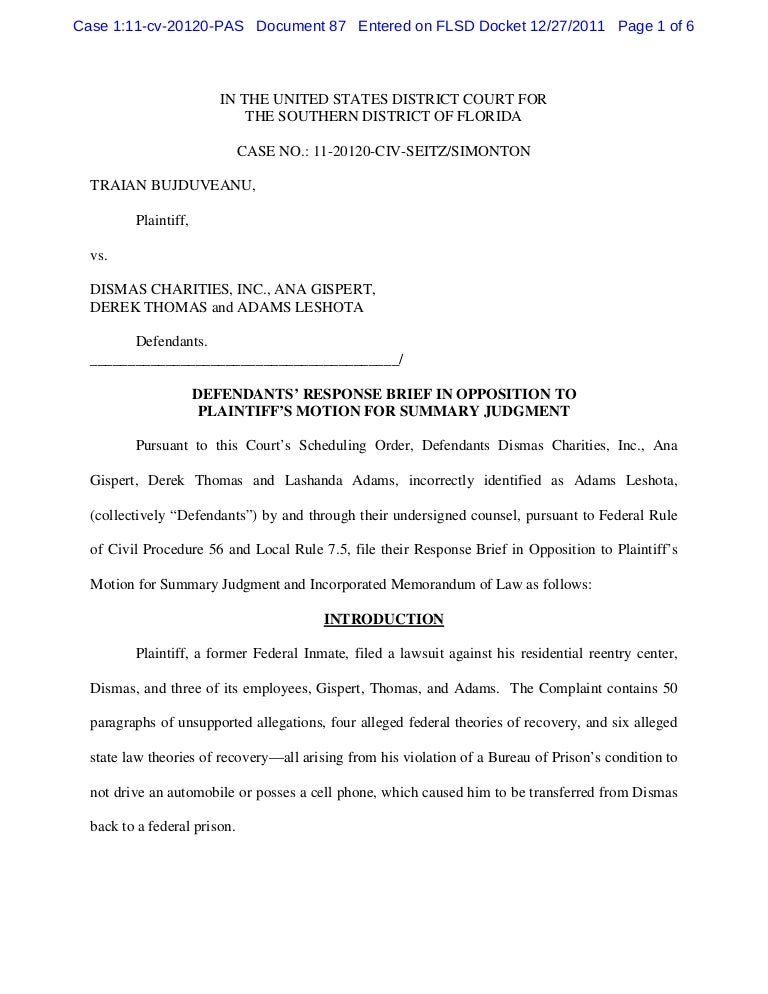 Defendants' response brief in opposition to plaintiff's motion for su…