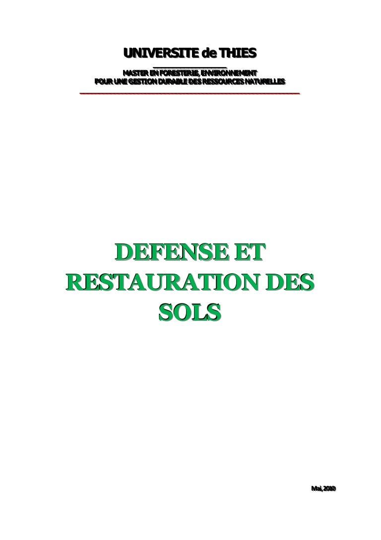 Sol Argileux Avantages Inconvénients defense et restauration es sols cours dr a.diagne ensa