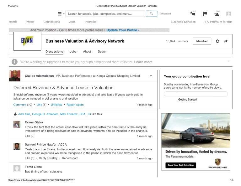 Deferred Revenue  Advance Lease In Valuation Likedin