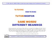 Defining terms: Tutoring. Mentoring. Same Words. Different Meaning