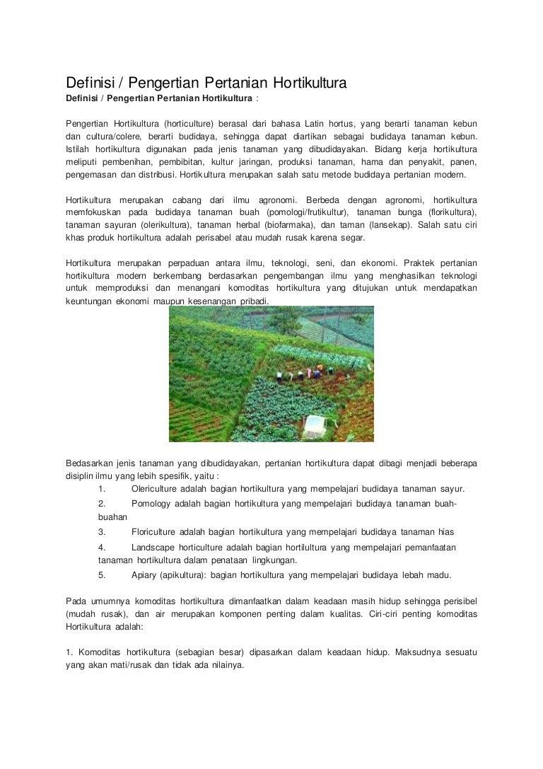 Definisi Hortikultura