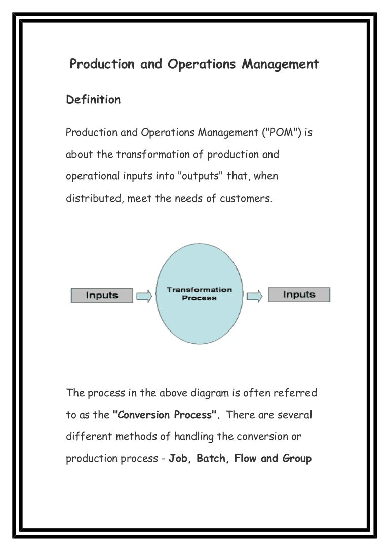 definition of production and operation management