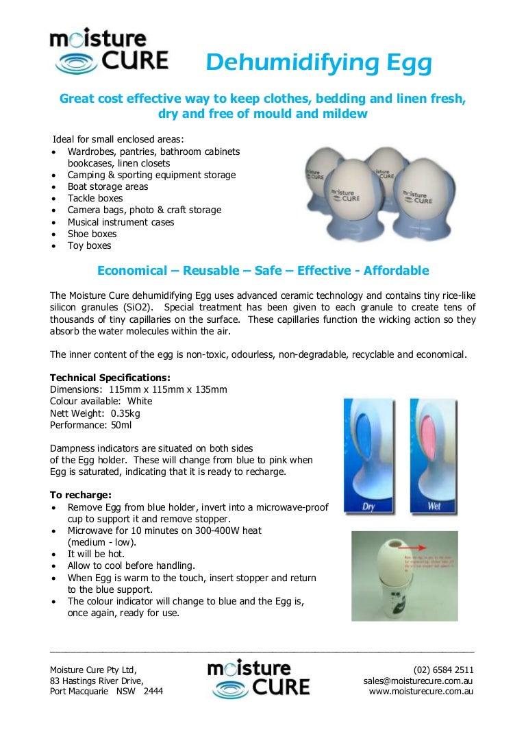 Dehumidifying egg instruction sheet.