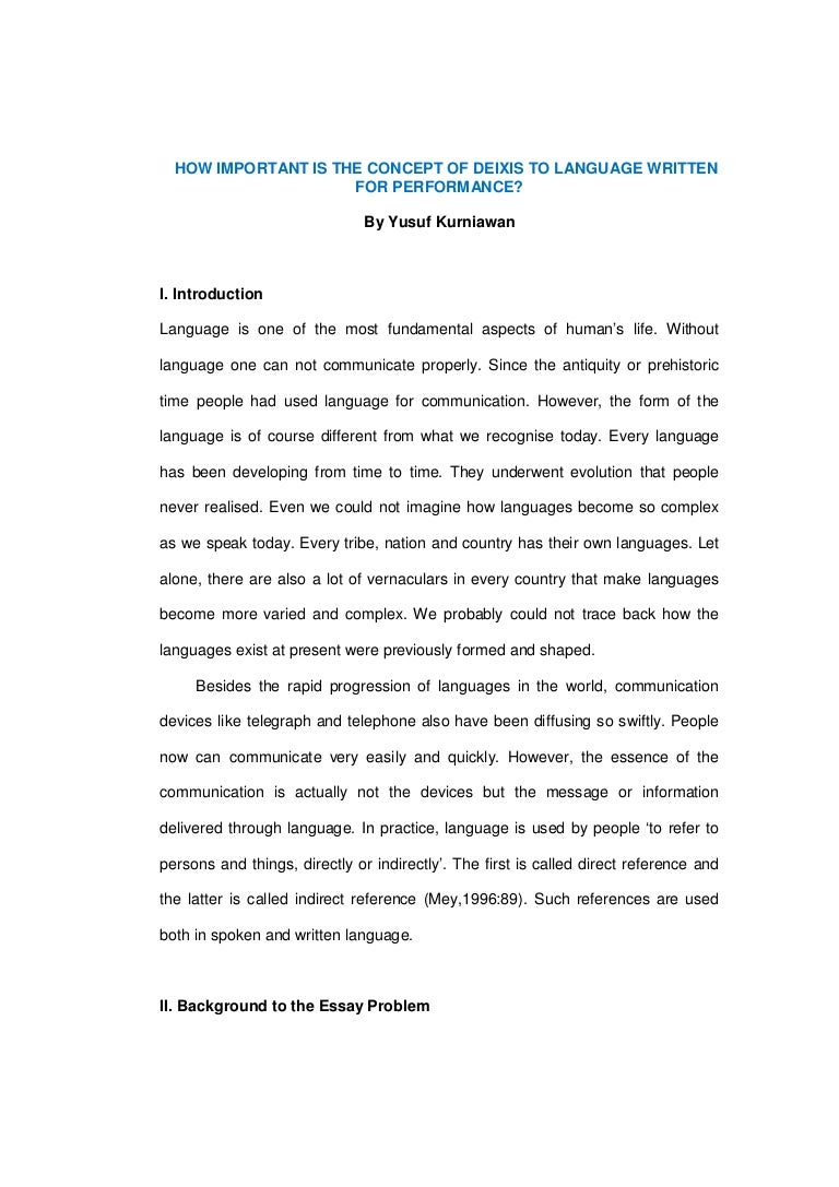 Concept Essay Cover Letter Essay Reference Example Essay Reference Deixis  Concept