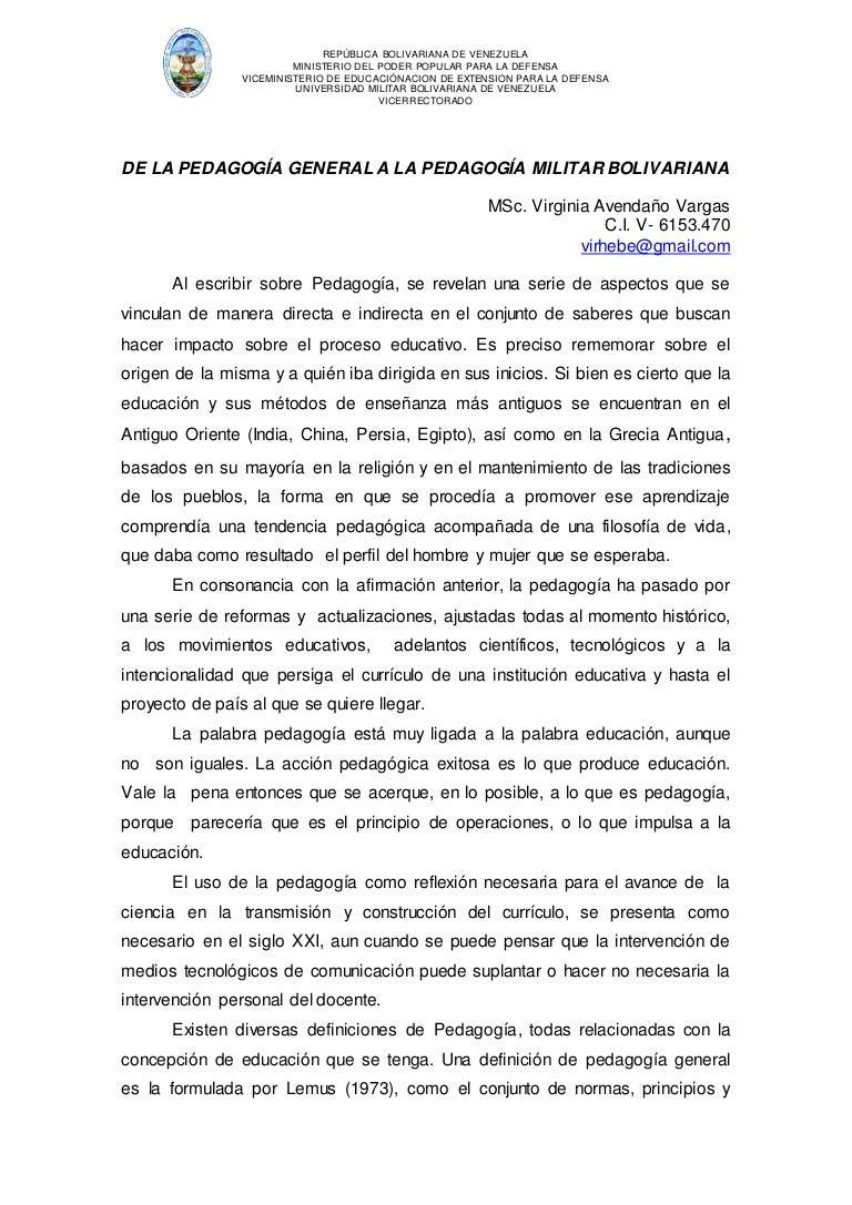 De la pedagogía general a la pedagogía militar bolivariana