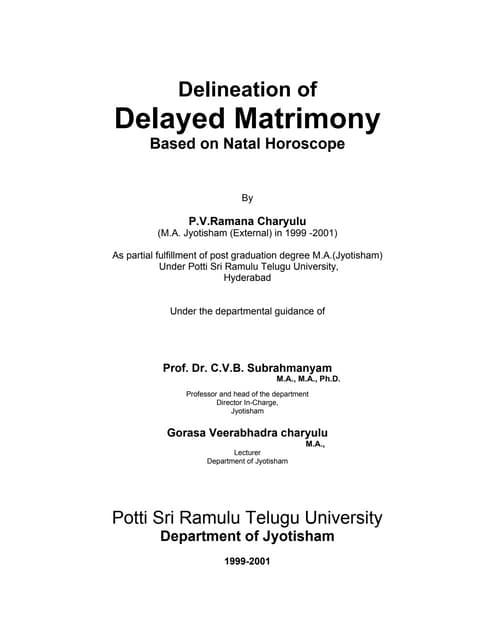 Delayed matrimony pvr